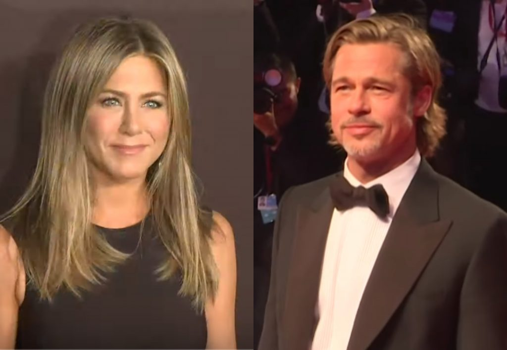 Brad Pitt visits Jennifer Aniston at her holiday party